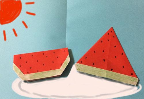 すべての折り紙 夏の折り紙 簡単 : 夏と言ったらすいか!すいかを ...