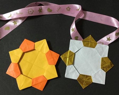 折り紙でのメダル完成図1