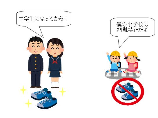 子供 紐靴 いつから 中学生