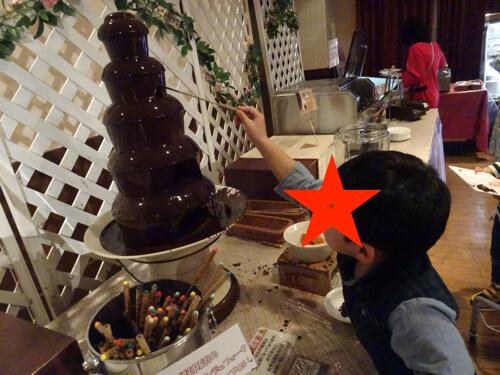 ホテルグリーンプラザ東条湖のビュッフェのチョコレートファウンテンの写真