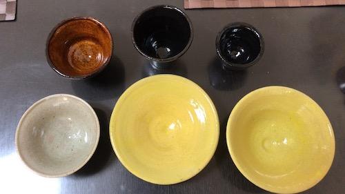 舞洲陶芸館でろくろ体験して出来上がった作品の写真